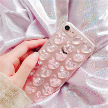 Buy Luxury 3D Glitter Love Heart Peach Phone Cases iphone X 8 7 6 6s Plus Case Bling Transparent Clear Soft TPU GEL Back Cover for $1.46 in AliExpress store