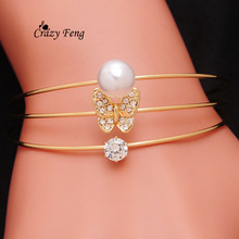 New Fashion Elegant Simulated Pearl Bangle  Gold Color Wristband Bracelet Crystal Cuff  Bracelets & Bangles For Women Gift