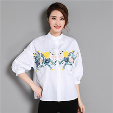 2017 Summer Women Tops Short Sleeve Shirt New Korean Craft Embroidery Stereo Flower Blusas Shirt(China)