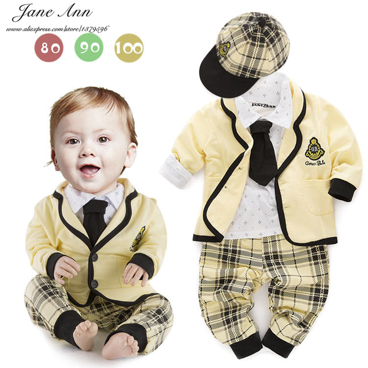 Babys sets cotton shirt+ plaid pants+coat+hat+tie autumn long sleeve clothes for baby boys college style outfit<br><br>Aliexpress