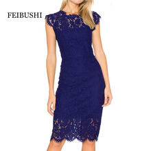FEIBUSHI Office Lady Vintage Lace dresses women 2017 Black Retro Tunic Slim Work Business Casual Party Bodycon Pencil Dress