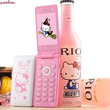 Flip Dual Sim Card Cell Phones D10 Breath Light Touch Screen Women Girl Mp3 Mp4 Cartoon Hello Kitty Unlocked Mobile Celular KUH