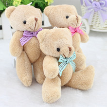 "4.3""/11cm Kawaii Mini Joint Bear Plush Toys Teddy Bear Dolls Phone Key Pendant Wedding Gift High Quality Random Color"