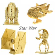 2016 Star Wars Metal 3D Puzzle Educational Toys Jigsaw Puzzles For Kids AT-ST R2D2 Xwing Tie Fighter Model DIY Gifts For Child