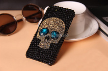 New Unique Metal saphire eye Skull Skeleton Diamond Rhinestone Case for Samsung Galaxy s3 s4 s5 note 2 note 3 note 4 Skin Cover(China)