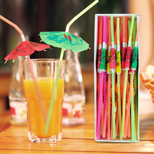 Free shipping 200pcs/lot umbrella drinking straws parasol cocktail paper straws Party Decoration Color Assorted box packing