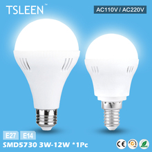 TSLEEN Cheap Sale+Free Shipping E27 E14 Base Energy Save LED Bulb Light 3/5/7/9/12W Cool Warm White 220V 110V Lamp