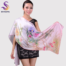 Fashion Autumn And Winter Women's Silk Scarf Shawl Hot Sale Pink Peony Pattern Scarf Wraps Long Cape 178*52cm wjc13