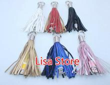 20pcs Mini USB Cable 2 in 1 Leather tassel Keychain fast charger keyring Data cable cord charging adapter for Android iPhone(China)