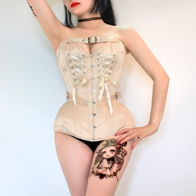 Annzley Corset Victorian Vintage Corset Top With Front Lace And Belt (1)