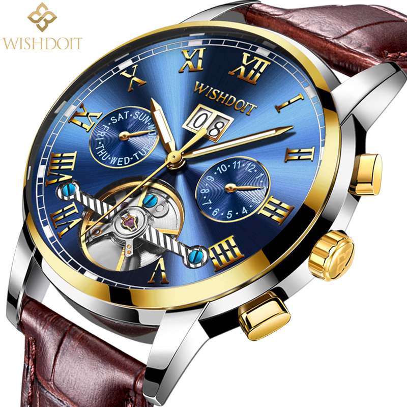 WISHDOIT Mens Watches Top Brand Luxury Automatic Mechanical Watch Men Business Waterproof Sport Watchs relojes hombre Male clock<br>