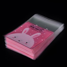 100 PCs / lot 7x7 CM Hot Lovely Rabbit Clear Cellophane Cookies Craft Wedding Birthday Candy Party Plastic Gifts OPP Bags