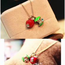 Red Apple Fashion Crystal Necklace Rose Gold-color Austrian Crystal Wholesale Girls choker Gift for women x28