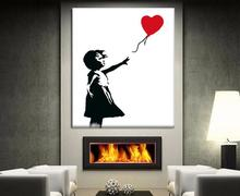 Hand painted Bansky Graffiti Balloon Girl Fine Art Repro Canvas by Hand painted (no Frame)B-209(China)