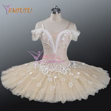 Adult Professional Ballet Tutu Beige Cream,Fairy Doll Pancake Platter Performance Tutu, Women Classical Ballet Stage Costumes