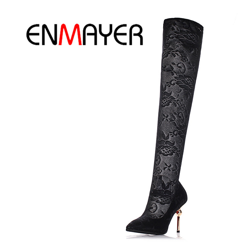 ENMAYER High Heels Fashion Boots Shoes Patent Leather&amp;Elastic Netting Black Over the Knee Boots Slip-On Long Summer Boots Women<br>