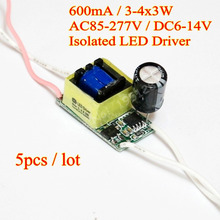 5pcs/lot Isolated 600mA 3-4x3W DC 6V - 14V Led Driver 3x3W 4x3W Power Supply AC 110V 220V for LED lights(China)