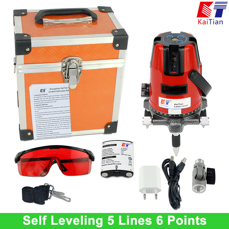 KaiTian 5 Lines 6 Points Laser Level Battery with Tilt Function 360 Rotary Outdoor 635nM Self Leveling EU Line lasers Tool China(China (Mainland))