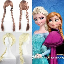 Disney Cosplay Doll Wig Frozen Elsa Anna Snow Princess Series Halloween Cos Anime Haired Blond Child With Pigtails Doll Wig