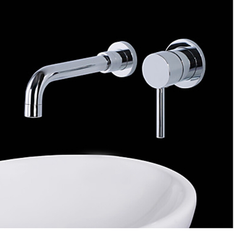 Wall Mounted Bathroom Basin Faucet Single Handle 2 Holes Hot And Cold Mixer Tap Hot sale free shipping<br><br>Aliexpress