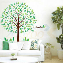 Family tree wall decal fresh green leaves pvc wall sticker mural loving nature home decor(China)