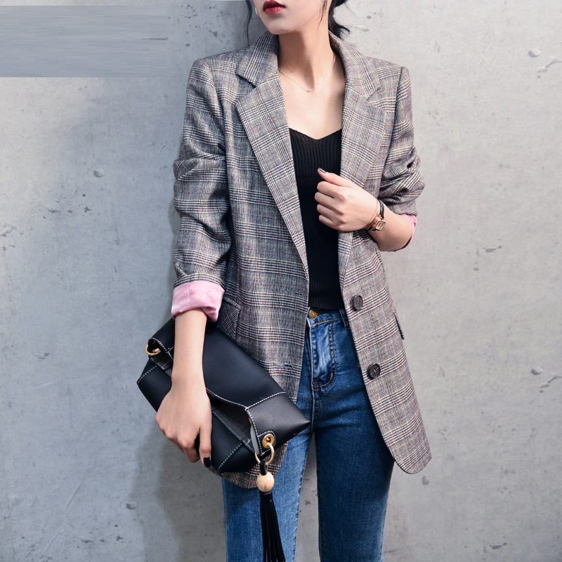 Plaid Blazer Women Jacket Spring  Autumn 2018 new casual retro Checkered chic Office Lady Women Blazers and Jackets High Quality