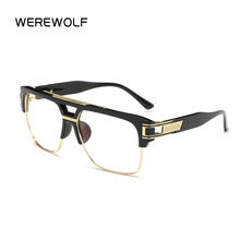 WEREWOLF Brand Designer Oversized Men Sunglasses Women Flat Top Sun Glasses Frame Square Male Clear Transparent Male Female
