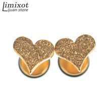 1Pair Fashion Cool Heart Shape Stud Earrings For Women Mens Stainless Steel Punk Gothic Cute Ear Stud Earring For Lover(China)