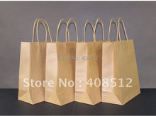 500pcs 28x22x11cm kraft paper twist handle brown fast food takeaway / clothes store / grocery carrier bag printing(China)