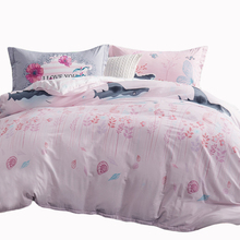 Double Queen Twin size light pink Duvet cover set sea world shark print pure Cotton Bedding set quilt cover bed sheet pillowcase