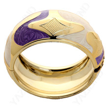New purple and purple golden enamel bangle bracelet fashion and fine jewelry/ high quality best gifts for women(China)
