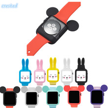 CRESTED Cute cartoon Mouse rabbit ears Soft Silicone protective for Apple Watch case iWatch 1/2 42 mm/38 Colorful cover shell(China)