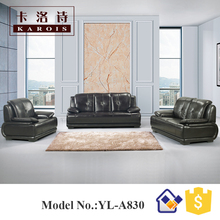 Best sell black leather modern kuka home goods patio furniture leather sofa
