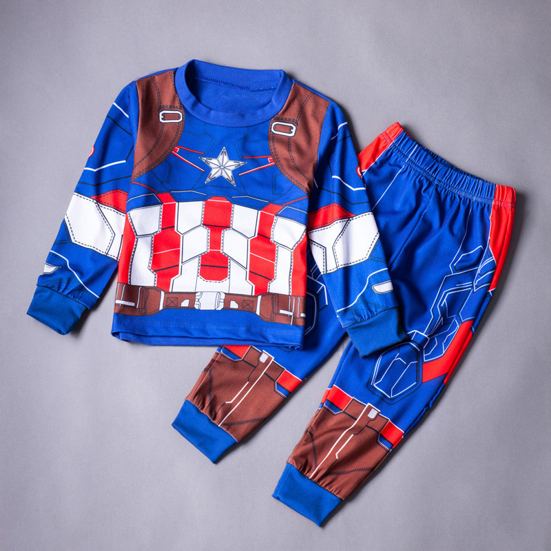 Fashion toddler children 2 piece set pajamas boys long sleeve shirt and pants clothing set captain america kids<br><br>Aliexpress