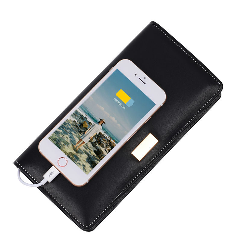 2017 Hot sale Multifunction Long Wallet with 6000 mAh Power Bank Mens Wallets Women Handbags  PU Leather Wallets Novel Gift<br>
