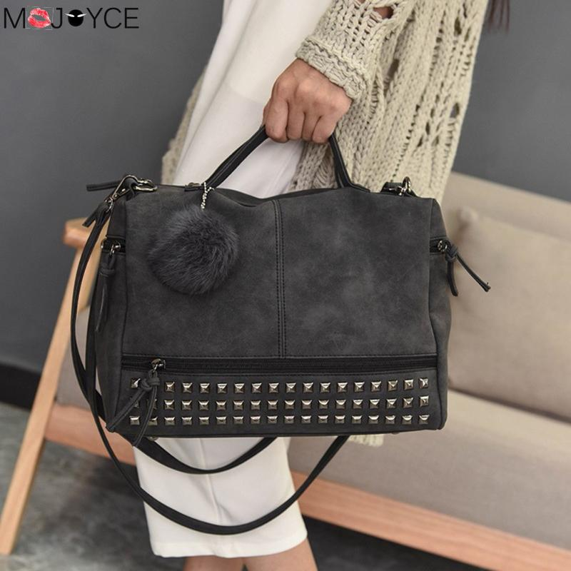 MOJOYCE Vintage Female Nubuck Leather Top-handle Bags Rivet Larger Women Bags Hair Ball Shoulder Bag Motorcycle Messenger Bags