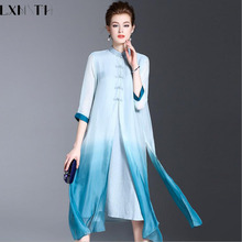 3XL Long Summer Dress 2017 New Chinese Style Vintage Cotton Linen Loose Dress Large Sizes Fake Two Piece Women Elegant Dresses