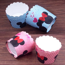 50pcs/bag colorful blue pink blue Minnie Mickey Mouse muffin liner cases for Birthday wedding Party Baking paper cake cup