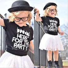 2Pcs Toddler Infant Baby Girls Kids lLetter Pattern Clothes Shirt Tops White Lace Skirt Outfits Set(China)