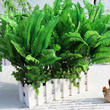 Hot Sale 7 Fork Persian Grass Artificial Silk Flower Green Fake Plants Home Decoration New Arrivals