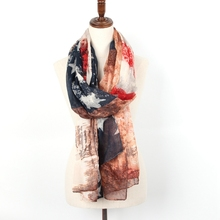 Staiwalks 2017 USA Navy Blue Red Abstract Star Striped Flag Scarf New Design Fashion Style Shawl Free Shipping 80*190cm(China)