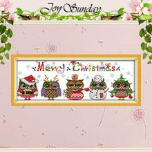 Рождество Совы Шаблоны Счетный крест мультфильм Вышивка крестом 11ct 14ct Вышивка крестиком комплект ручной работы Вышивка для рукоделия(China)
