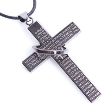 2017 Hot Sale Scripture r ing Jesus Christ Cross Letter Pendant Leather Necklace For Men Fashin Jewelry Christmas Halloween Gift