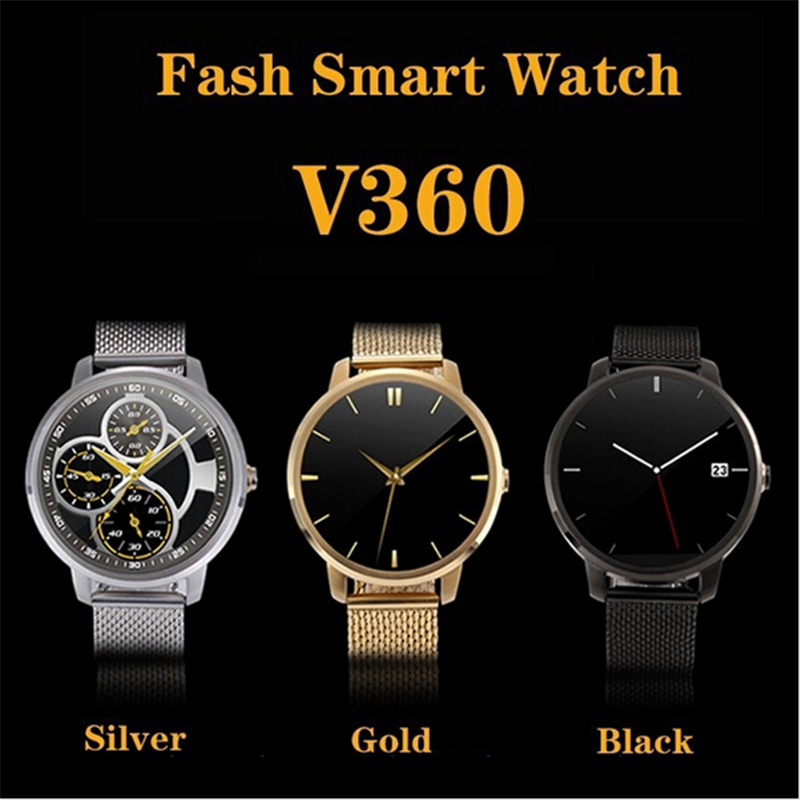 2017 Men's Smart Wrist Watch V360 Round Clock with Stainless Steel Strap MTK2502 2 Mega Pixel Camera and Bluetooth Pedometer(China (Mainland))