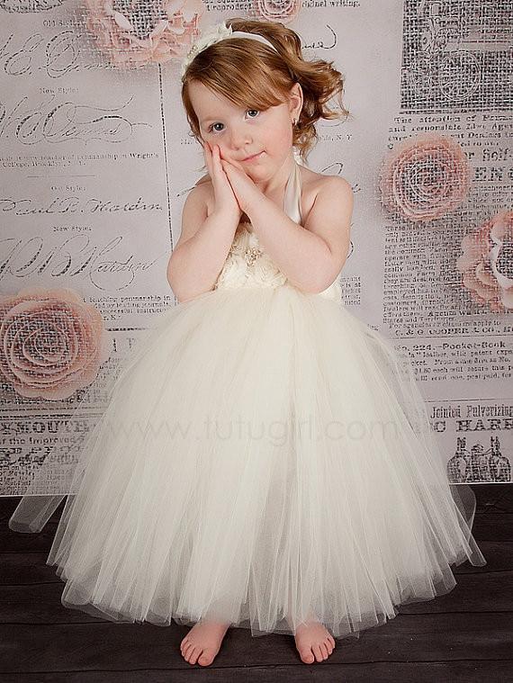 Handmade Ivory Flower Girl Dress Girls Party Tutu Dress Toddler Birthday Dress Baby Wedding Tutu Dress 2T/3T/4T/5T/6T/7T/8T<br>
