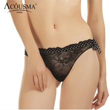 Buy ACOUSMA Women G-String Floral Lace Panties Vintage Polka Dot Sexy Transparent T Back Thongs Seamless Female Underwear Black Red
