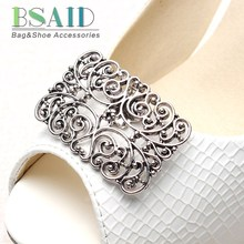 BSAID 1Pair Vintage Hollow Metal Shoe Buckle Clips For Women Shoes Decoration Retro Hollow-out Flower Shoe Clip Shoe Accessories(China)