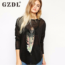 GZDL Korean Fashion Women Feather Print T-Shirt Loose Long Sleeve Casual O Neck Pullover Tops Tee Camisetas Femininas CL1909