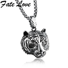 Fate Love Brand New Tiger Necklaces Antique Gold/Black/White Tiger Head Pendant Charm Animal Jewelry Man Cool Accessories FL1184(China)