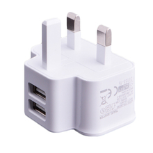 SUNGUY 5V 2A Dual USB Wall Charger Adapter UK Plug Universal Portable Travel Charger for iPhone Samsung Mobile Phone Charger